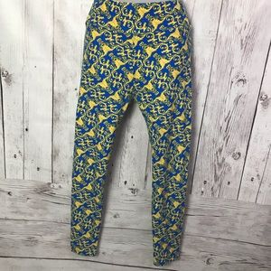 Blue and yellow lularoe patterned leggings.